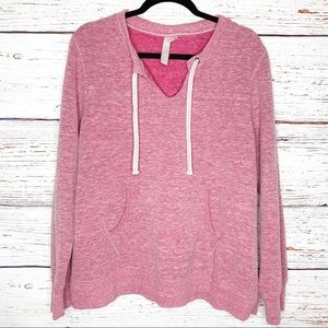 GreenTea heather pink pullover with front pocket